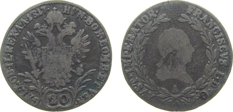 20 Kreuzer 1817 Nachprägungen Ag Franz II. (I.), 1792-1835, A (Wien), zeitgenössische Fälschung fast ss