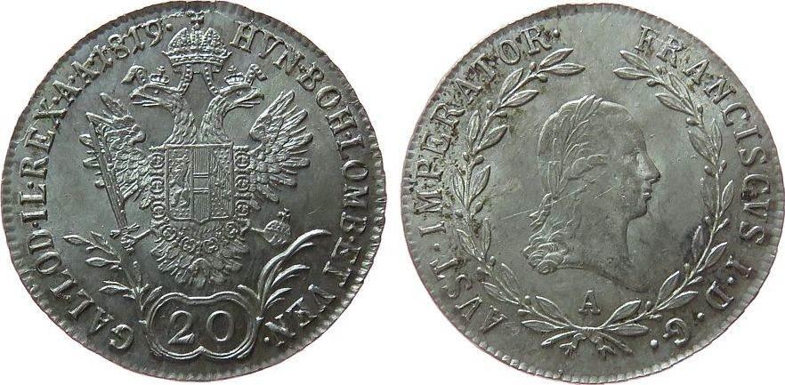 20 Kreuzer 1819 Österreich Ag Franz II. (I.), 1792-1835, A (Wien), feine Kratzerchen stgl-