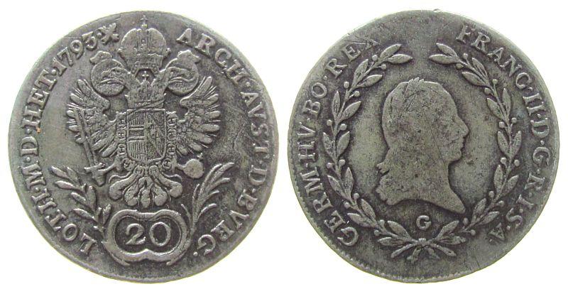 20 Kreuzer 1793 Österreich Ag Franz II. (I.), 1792-1835, G (Nagybanya Ungarn), Jaeckel 107 s / ss
