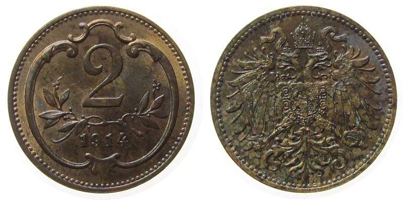 2 Heller 1914 Österreich Br Franz Joseph I,J373 stgl-