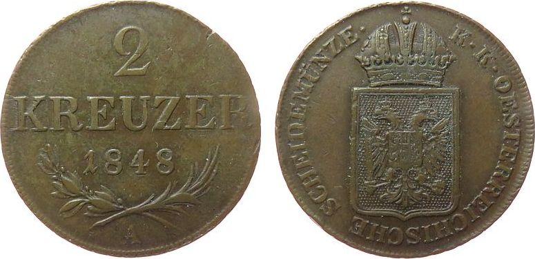 2 Kreuzer 1848 Österreich Ku Ferdinand I (1835-1848), A (Wien), unruhiger Rand ss