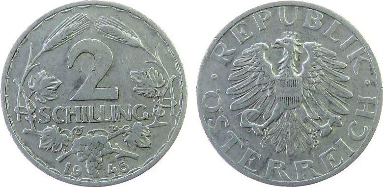 2 Schilling 1946 Österreich Al J.456 vz-unc