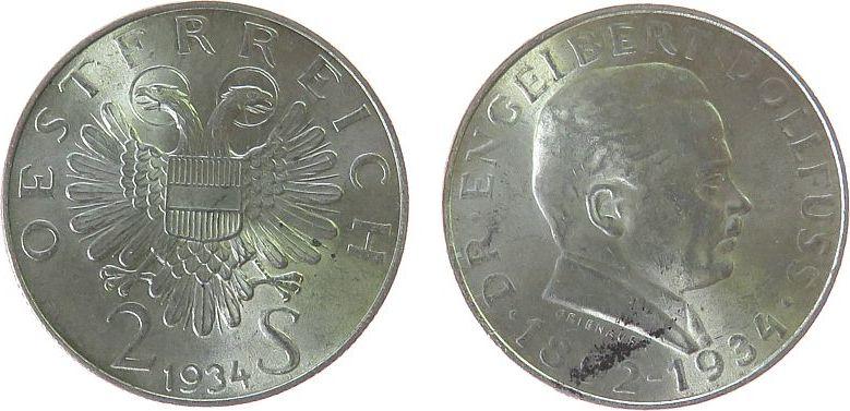 2 Schilling 1934 Österreich Ag Dollfuss ss