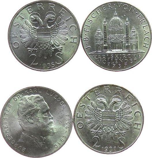 2 x 2 Schilling 1935-37 Österreich Ag Lueger und Karlskirche vz