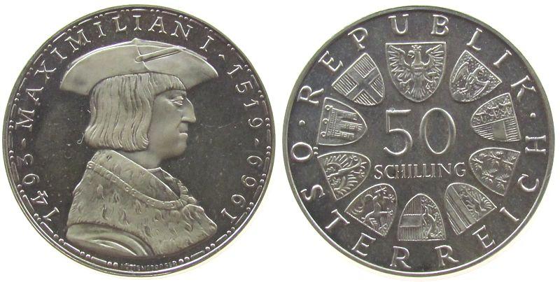 50 Schilling 1969 Österreich Ag Maximilian, zaponiert pp
