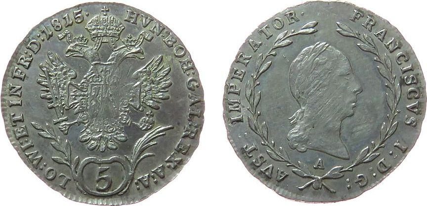 5 Kreuzer 1815 Österreich Ag Franz II. (I.), 1792-1835, A (Wien), Herinek 915, justiert vz