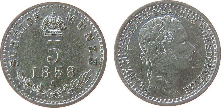 5 Kreuzer 1858 Österreich Ag Franz Joseph I (1848-1916), A (Wien) ss