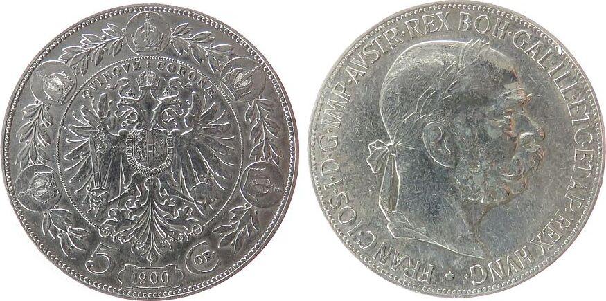5 Kronen 1900 Österreich Ag Franz Joseph I fast ss