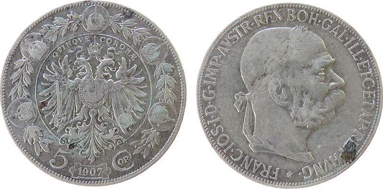 5 Kronen 1907 Österreich Ag Franz Joseph I, J377 ss
