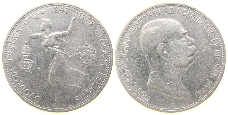5 Kronen 1908 Österreich Ag Franz Joseph I,Ruhmesgöttin, J 397 ss
