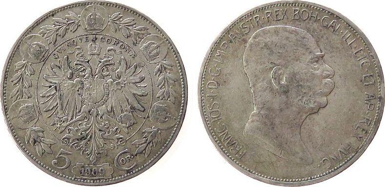 5 Kronen 1909 Österreich Ag Franz Joseph I, kleines Porträt ss