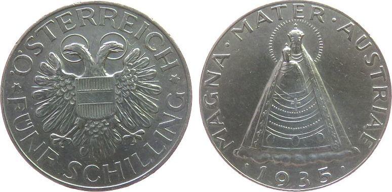 5 Schilling 1935 Österreich Ag Mariazell ss-vz