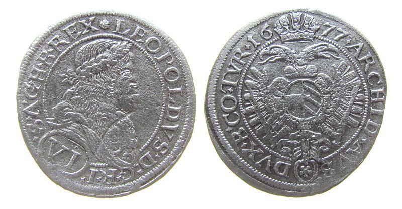 6 Kreuzer 1677 Österreich Ag Leopold I (1657-1705), Wien, etwas scharf gereinigt ss