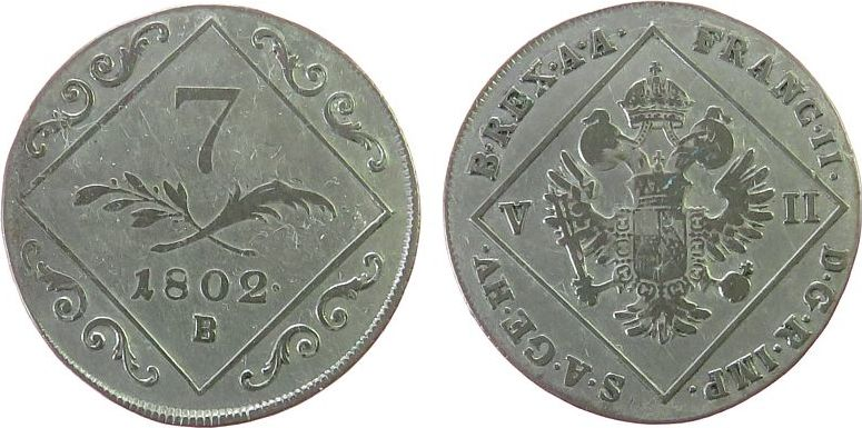7 Kreuzer 1802 Österreich Ag Franz II. (I.), 1792-1835, B (Kremnitz), kleine Randstöße ss