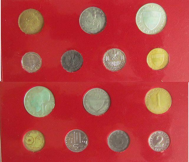 16,67 Schilling 1973 Österreich div. Kursmünzensatz, etwas angelaufen, etwas fleckig pp