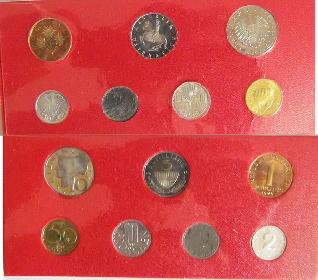 16,67 Schilling 1974 Österreich div. Kursmünzensatz, etwas angelaufen, etwas fleckig pp