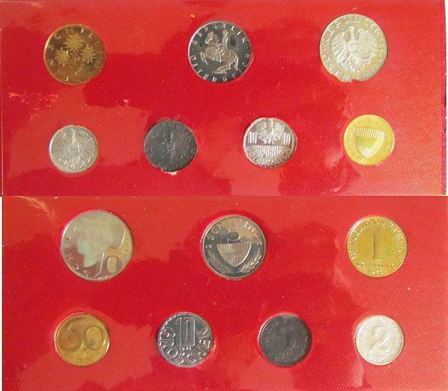 16,67 Schilling 1976 Österreich div. Kursmünzensatz, etwas angelaufen, etwas fleckig pp