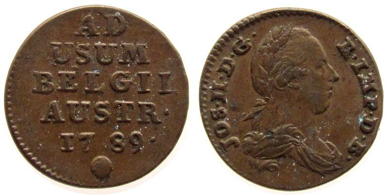 1 Liard 1789 Österreich Niederlande Ku Josef II (1765-1790), Brüssel, Jaeckel 38 ss+