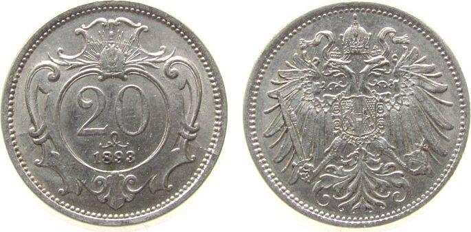 20 Heller 1893 Österreich Ni Franz Joseph I, J375 ss-vz
