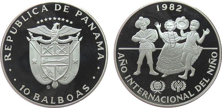 10 Balboas 1982 Panama Ag Internationales Jahr des Kindes, etwas fleckig pp