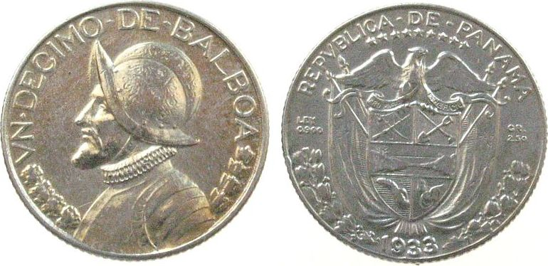 1/10 Balboa 1933 Panama Ag seltenstes Jahr unz