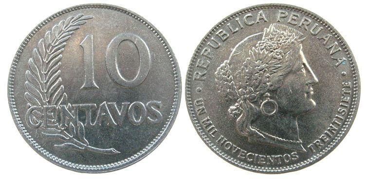 10 Centavos 1937 Peru KN Prachtstücke, Schön 18 unz
