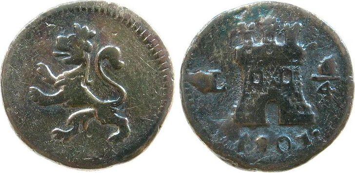 1/4 Real 1801 Peru Ag Charles IV (1788-1808) ss-