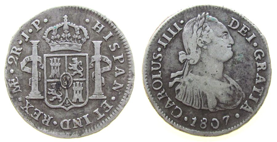 2 Reales 1807 Peru Ag Charles IV (1788-1808), Lima, JP ss