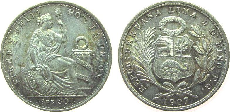 1/5 Sol 1907 Peru Ag sitzende Freiheit unz