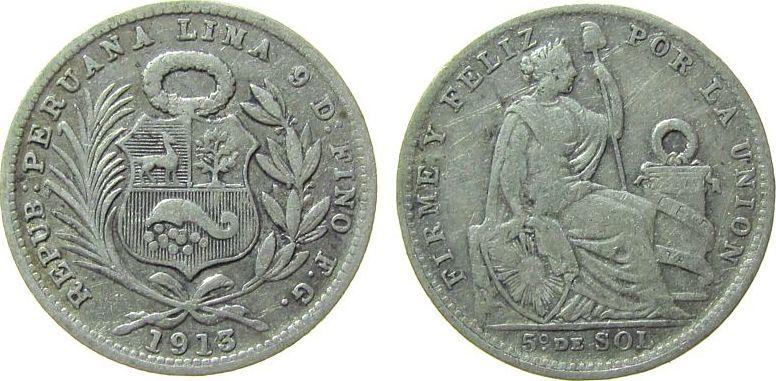 1/5 Sol 1913 Peru Ag FG, feine Kratzer ss