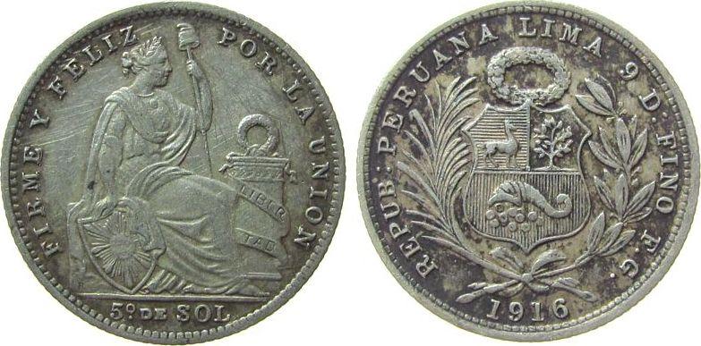 1/5 Sol 1916 Peru Ag FG ss