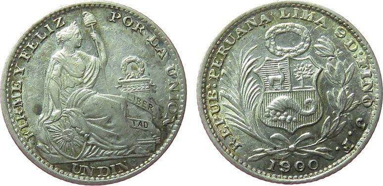 1 Dinero 1900 Peru Ag sitzende Freiheit, kleiner Fleck vz