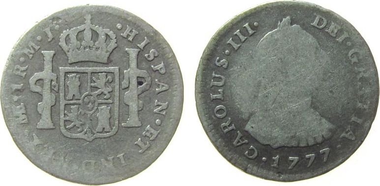 1 Real 1777 Peru Ag Carlos III, M.J. fast schön