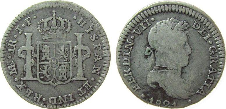 1 Real 1821 Peru Ag Ferdinand VII, JP, Kratzer schön