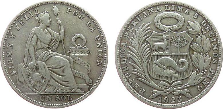 1 Sol 1923 Peru Ag Republik ss