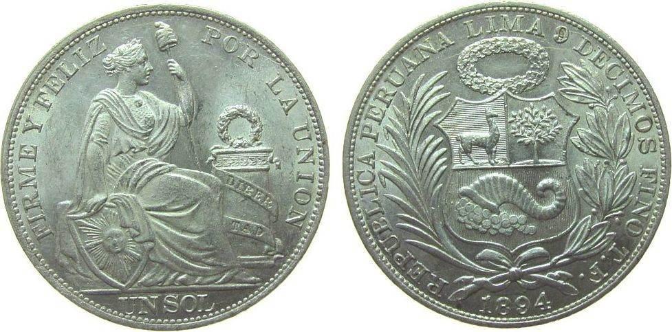 1 Sol 1894 Peru Ag sitzende Freiheit vz-unc