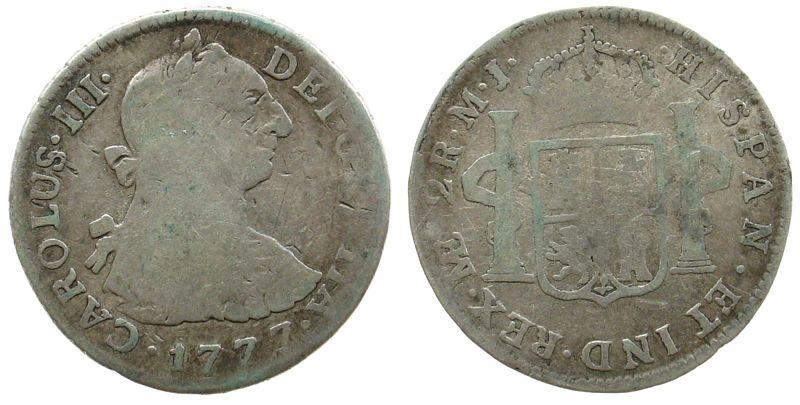 2 Reales 1777 Peru Ag Carlos III, MJ schön