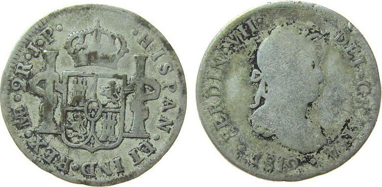 2 Reales 1812 Peru Ag Ferdinand VII, Lima, J.P. schön