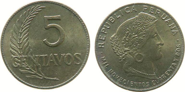 5 Centavos 1942 Peru Me Schön 17a, ..cuarenta y dos unz