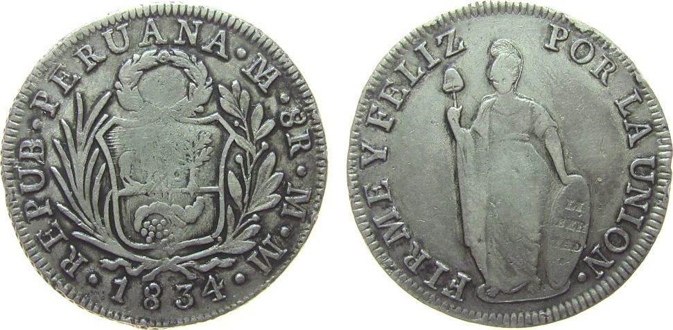 8 Real 1834 Peru Ag Stehende Freiheit, Lima, MM, ca. 26,56 Gramm ss-