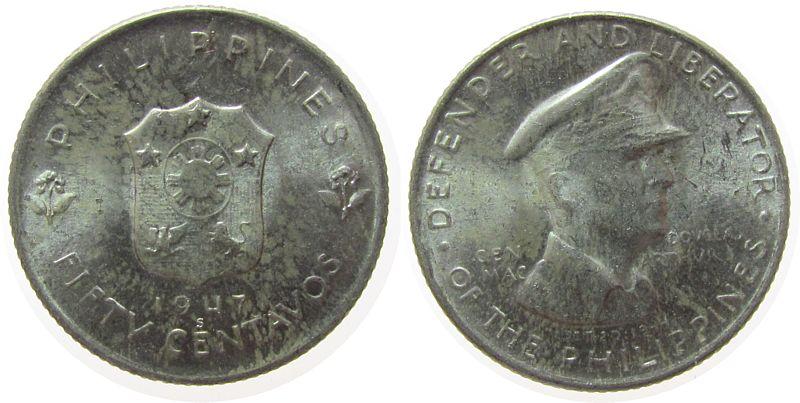 50 Centavos 1947 Philippinen Ag MacArthur vz-unc