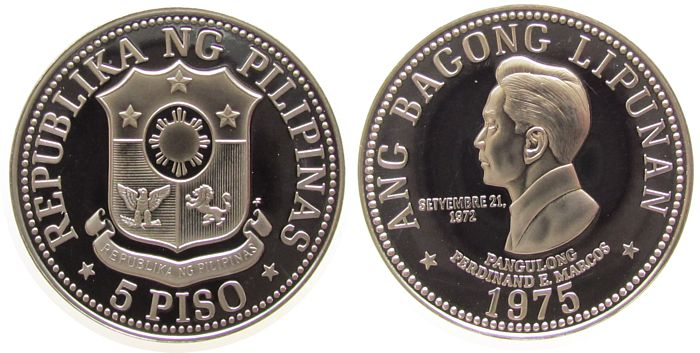 5 Piso 1975 Philippinen KN Marcos pp