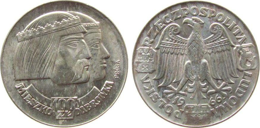 100 Zlotych 1966 Polen Ag 1000 Jahrfeier Polens, Mieszko i Dabrowka, Probe fast stgl