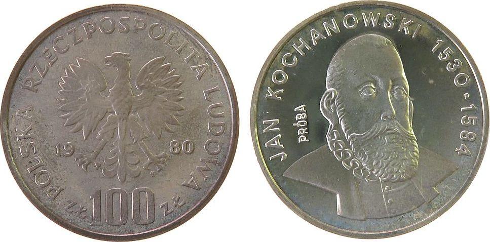 100 Zlotych 1980 Polen Ag Kochanowski, Patina, Probe, kleine Flecken pp