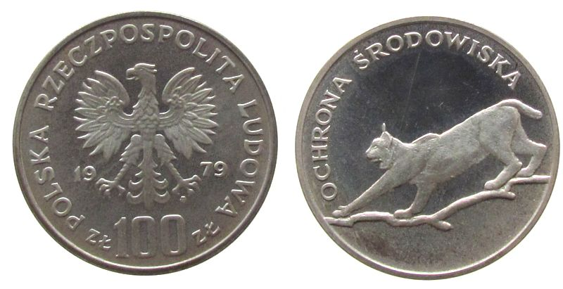 100 Zlotych 1979 Polen Ag Luchs, feiner Kratzer, Patina, Parch. 286 pp-