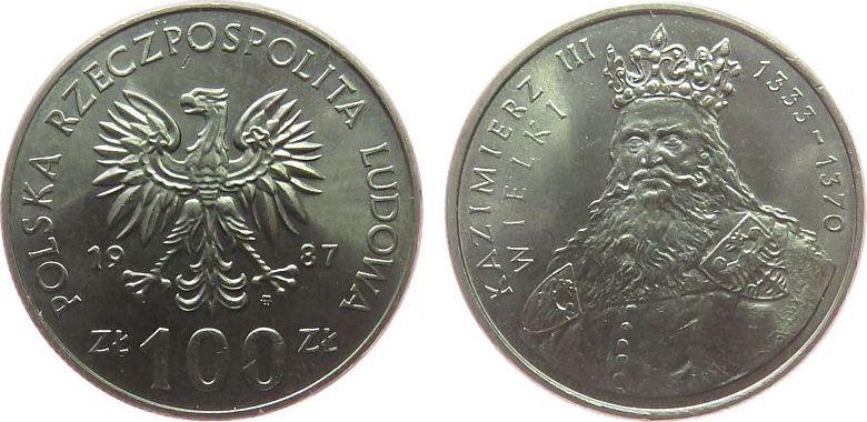 100 Zlotych 1987 Polen KN Kazimierz III 1333-70 unz