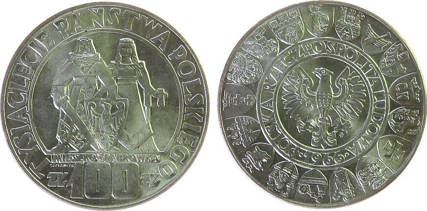 100 Zlotych 1966 Polen - Poland KN 1000 Jahrfeier Polens, Mieszko i Dabrowka fast stgl