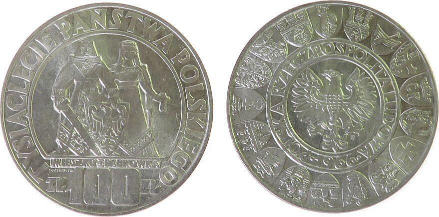 100 Zlotych 1966 Polen - Poland Ag 1000 Jahrfeier Polens, Mieszko i Dabrowka vz-unc