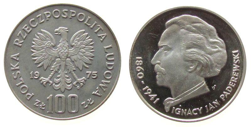 100 Zlotych 1975 Polen Ag Ignacy Jan Paderewski, Parch. 273, Patina pp