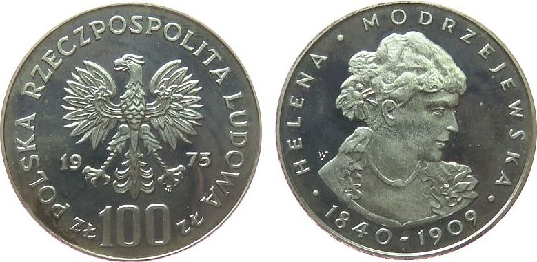 100 Zlotych 1975 Polen Ag Helena Modrzejewska, etwas angelaufen pp